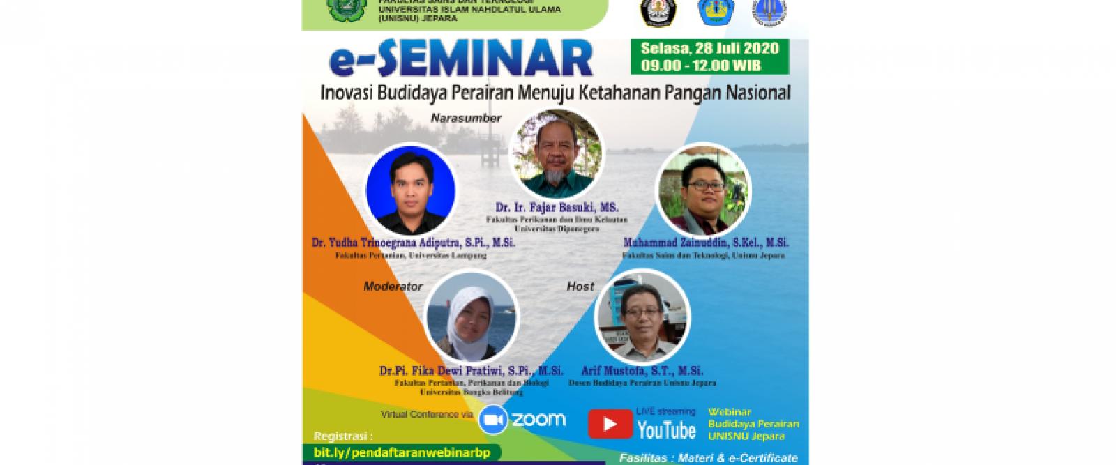 e-Seminar Budidaya Perairan UNISNU 2020